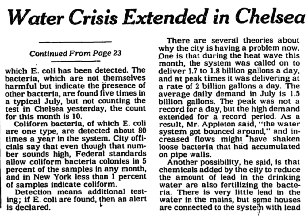 """A black and white newspaper clipping. The headline reads """"Water Crisis Extended in Chelsea"""""""